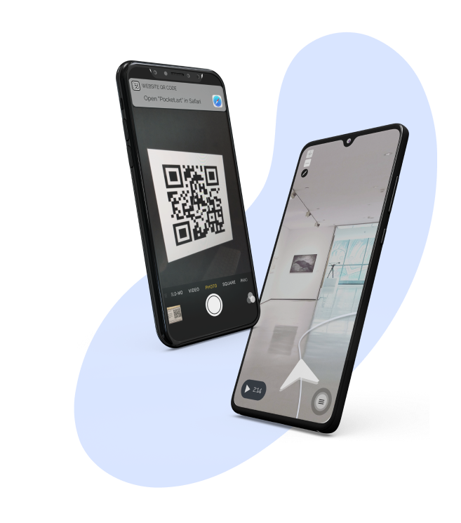 qr code scanning in pocket.art for digital guide in a museum